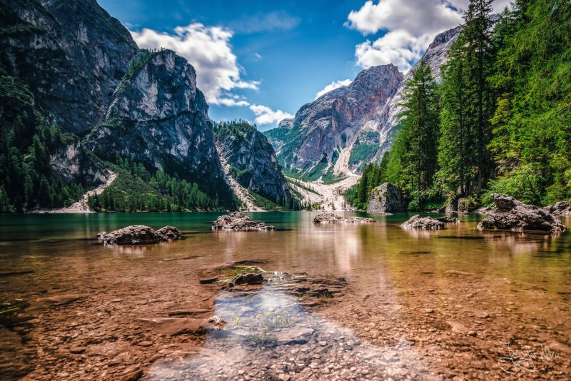 Langzeitbelichtung vom Pragser Wildsee