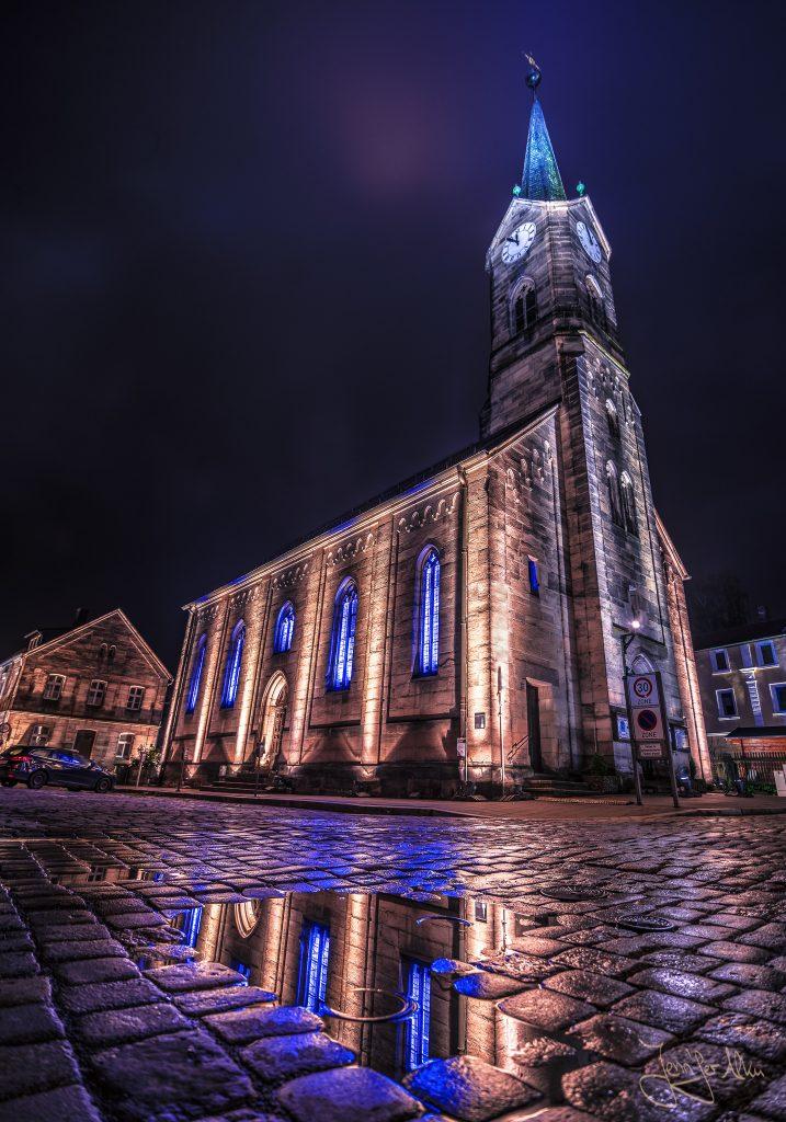 Kronach leuchtet 2019, Jennifer Alka, Sieger Fotowettbewerb, Architektur, Evangelische Kirche, Kronach